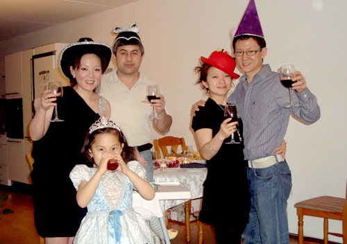 New Year's Eve. This is all of us wearing funny hats! Don't you agree?