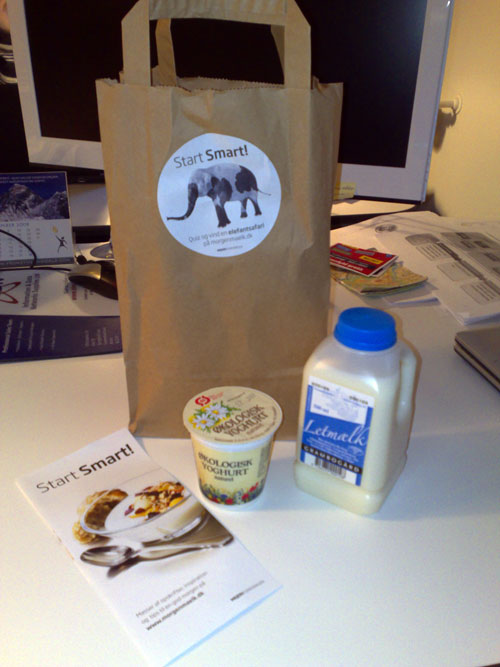 This was an interesting promotional campaign by a dairy producer downtown Copenhagen. I got this a nearly 1-kg in weight package of dairy products when I was on my way to the office one early morning recently. I was glad to grab the package (free of charge) because it was a nice breakfast ;) Now, I am not sure how many people care reading through the flyer, but I am sure it is a good promotion in terms of introducing a product to the market as well as brand recognition. Would not you like to get such a breakfast in the morning for free?